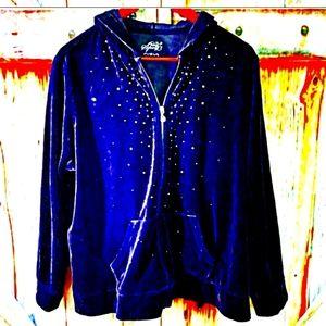 💟 style & co 2x  velvet rhinestone hoodie 💟
